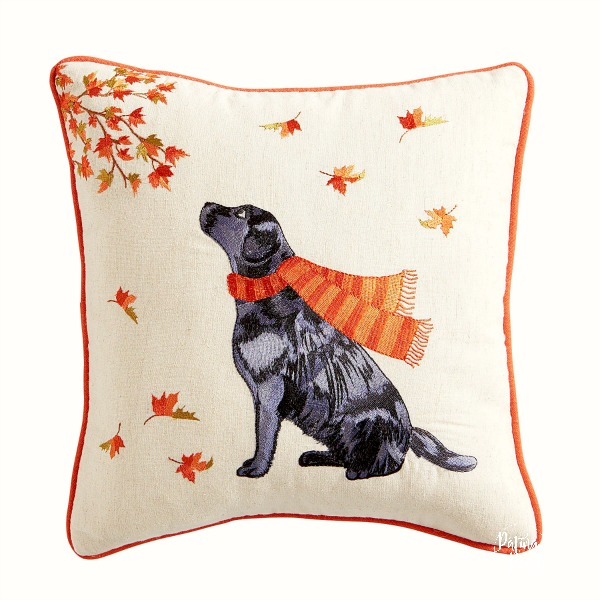 black lab fall throw pillow