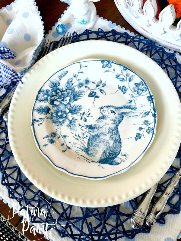 blue and white bunny plate, place setting