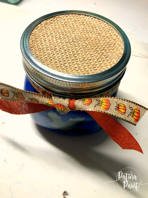 Burlap lid on jar