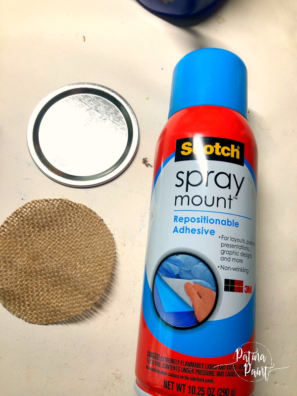 burlap, lid and spray adhesive