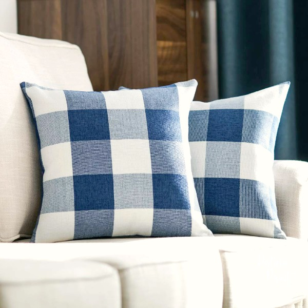 navy and white buffalo check pillow covers