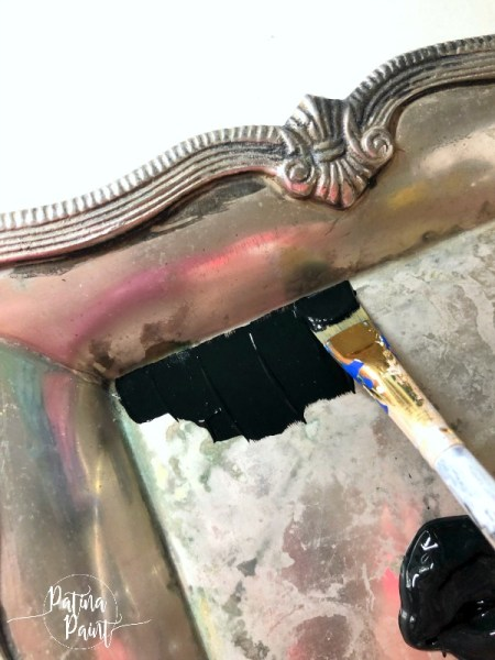 painting a silver tray black