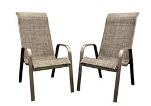 aluminum sling high back chair with cocoa fabric sold in a set of 2 chairs carton