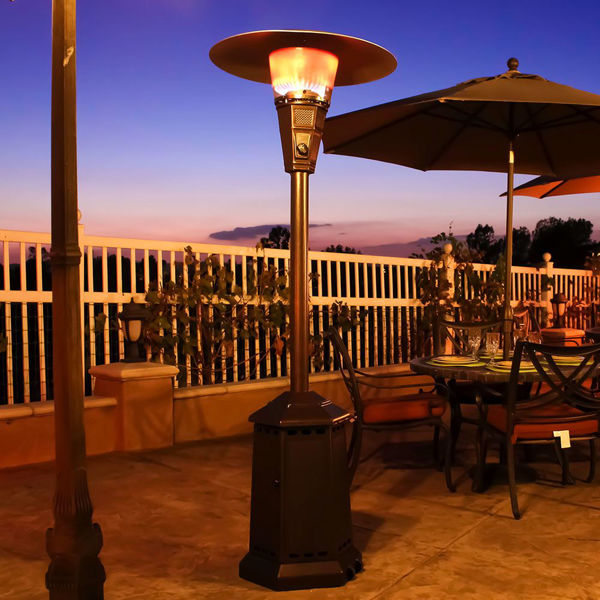 lava heat italia patio heater venetian propane 40 000 btu heritage bronze