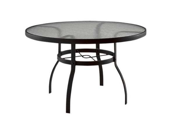 woodard deluxe tables in aluminum with acrylic top 36 round dining table