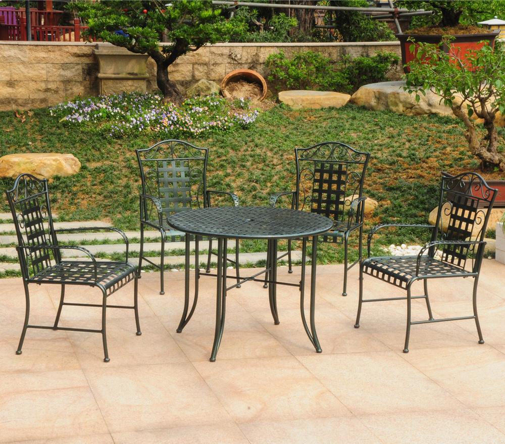 five piece wrought iron patio set