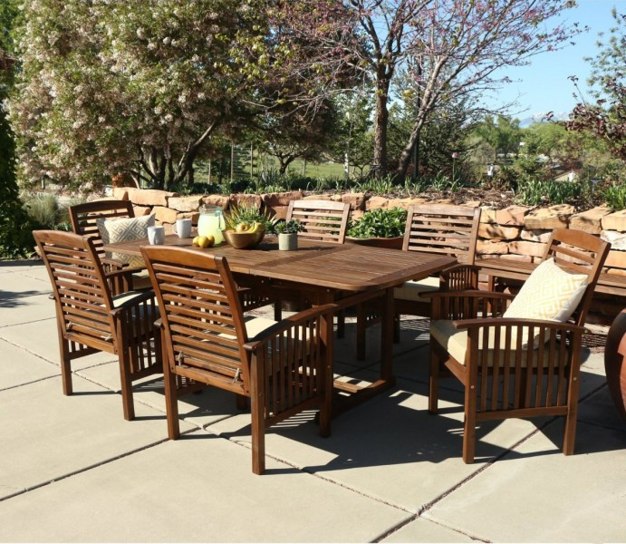 Walker Edison 7 Piece Acacia Wood Patio Dining Set with Cushions     Walker Edison 7 Piece Acacia Wood Patio Dining Set with Cushions