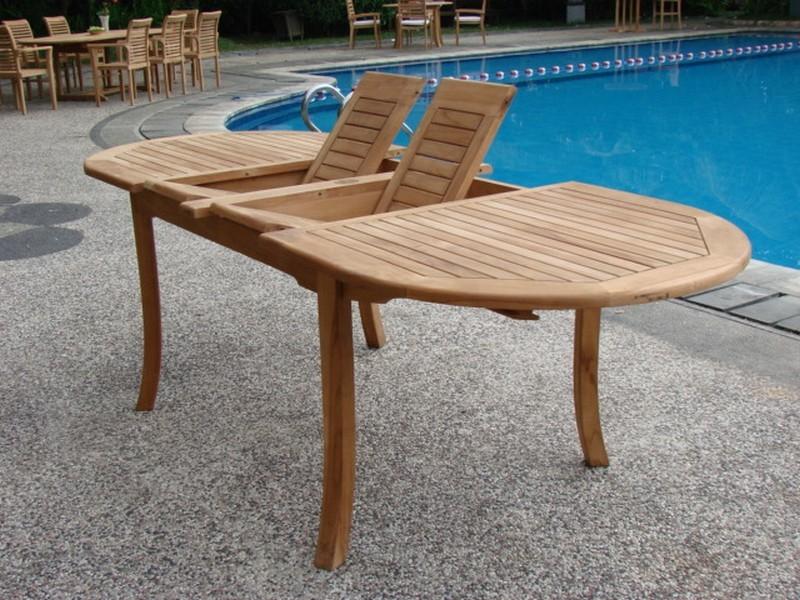 teak wood large double extension