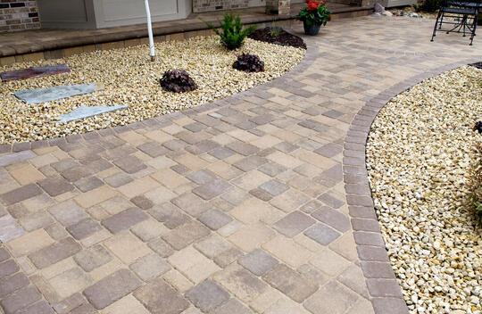 cobblestone pavers patio town