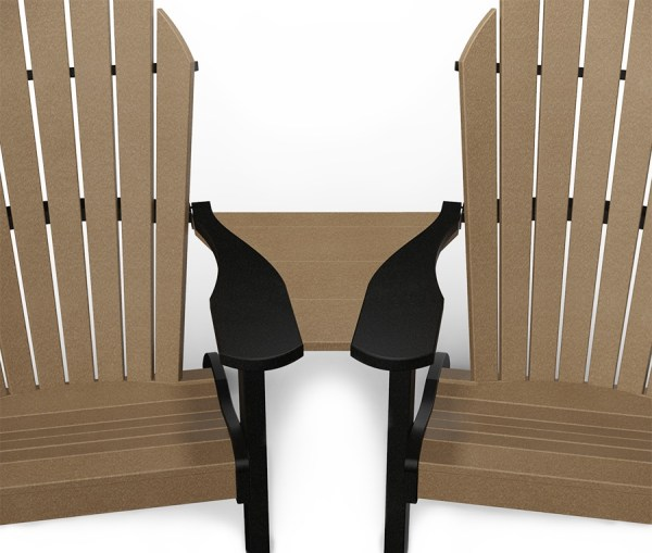 Weathered wood and black colored poly center table connecting two weathered wood and black colored poly Adirondack chairs.