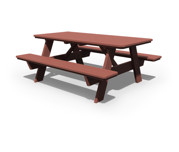 3' x 6' Picnic Table with Benches Attached in mahogany stain.