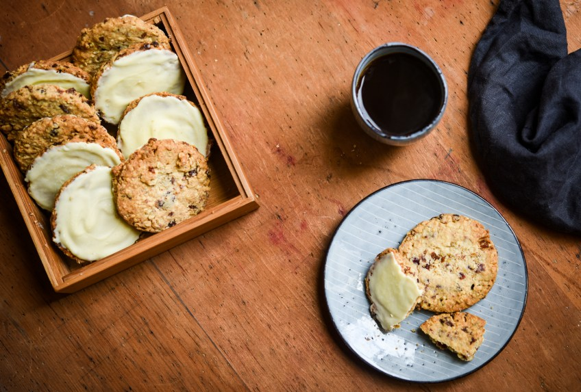 Cranberry, Oat & White Chocolate Biscuits | Patisserie Makes Perfect