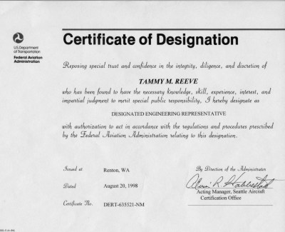 Tammy Reeves DER Certificate | Patmos Engineering