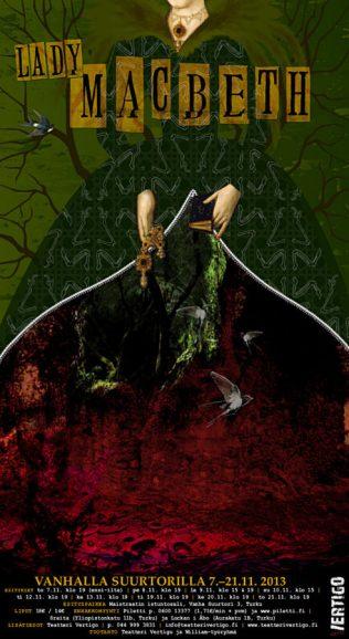 Lady Macbeth. Julisteen graafinen suunnittelu. Teatteri Vertigo, 2013.