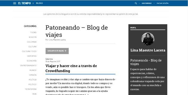 blog El Tiempo - Patoneando blog de viajes Lina Maestre