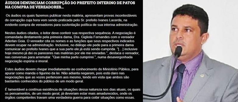 Blog divulga áudios do que diz ser negociata entre gestão de Ivanes Lacerda e vereador Goia. Parlamentar diz que tá tranquilo