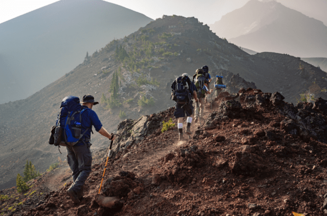 group of people on a trekking