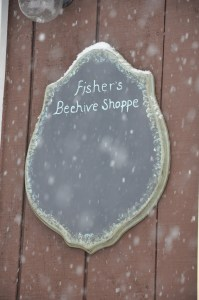 Fisher's Beehive Shoppe sign/chalk paint