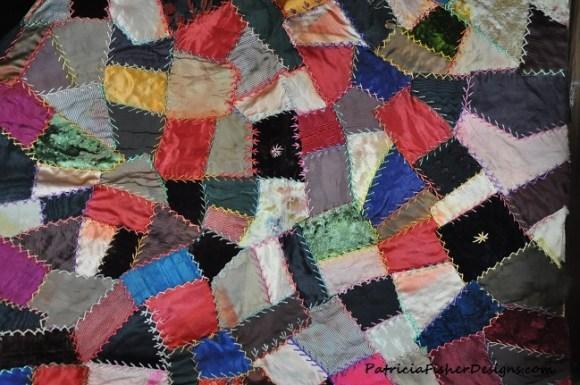 antique silk quilt square