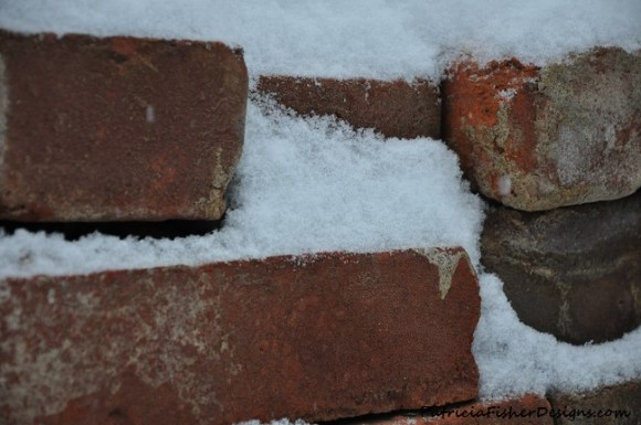 old bricks in snow