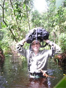 Meredith in a forest swamp in Borneo