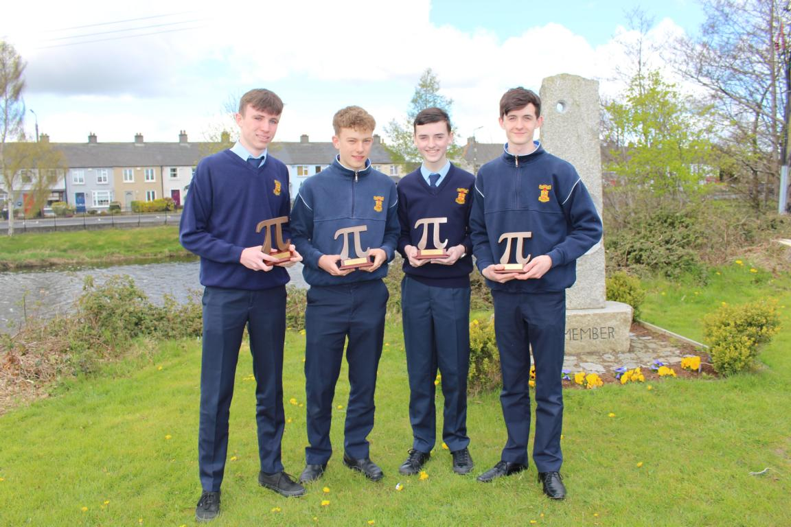 Pi quiz champions 2016 Peter Dobey, Cian Gallagher, Peter Mc Hale, Colin Smyth