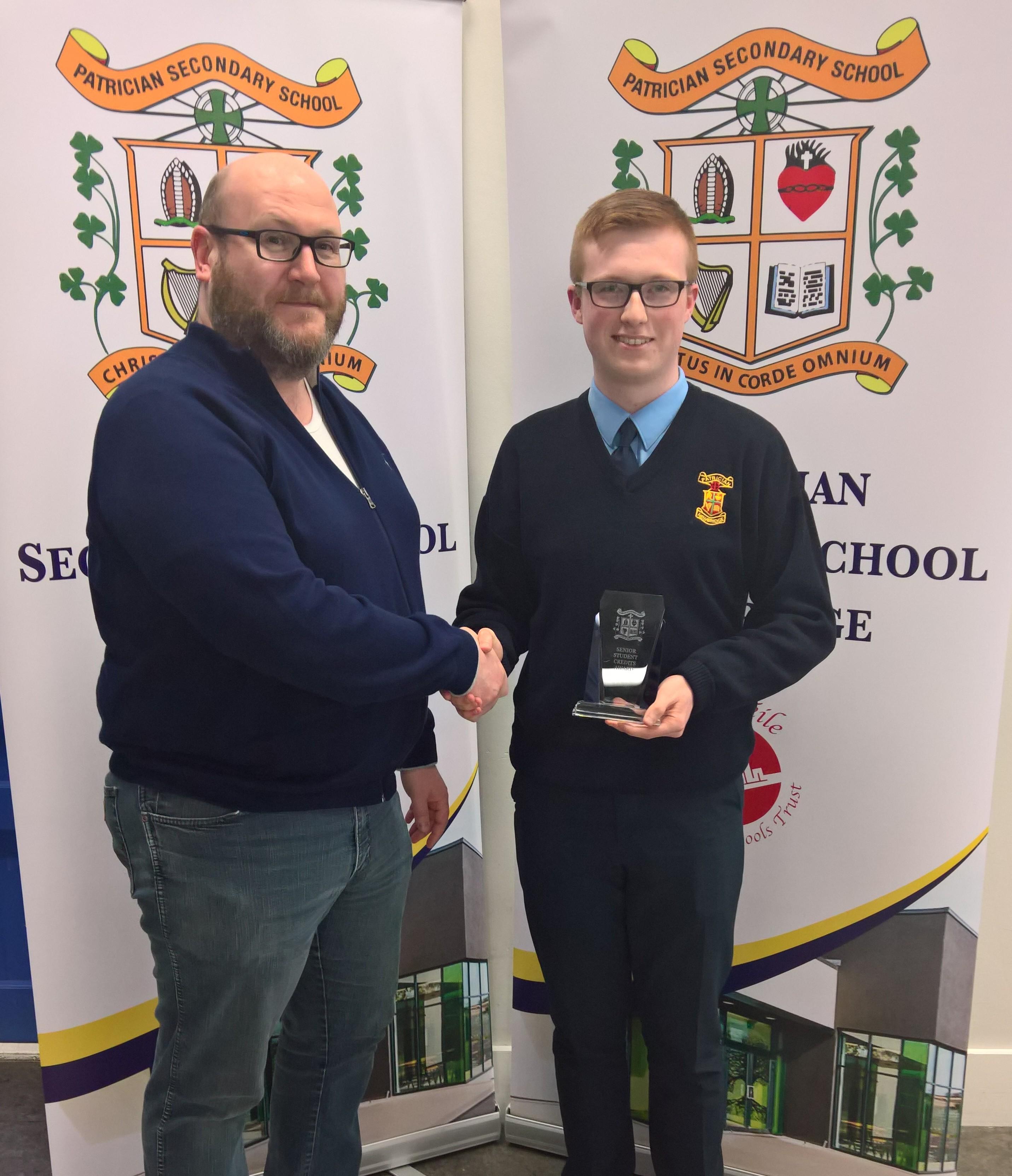 Parents' Association award winner Sean Murphy (3B) with Peter Gosnell