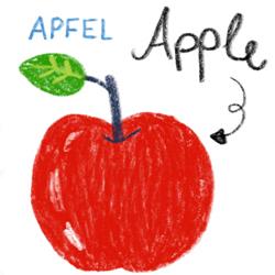 Illustration Food in english Food in german Bildwörterbuch für Kinder