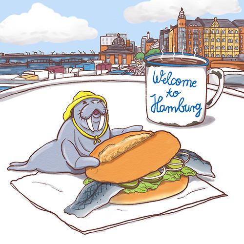 Sympathiefigur Welcome to Hamburg Fischbrötchen und Walross