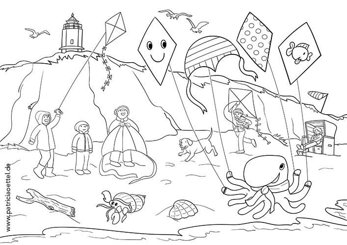 Ausmalbilder Malbuch Herbst an der Küste Patricia Oettel