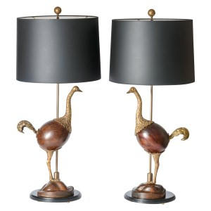 Hollywood Regency Rare Bronze Lamp Wood Ostrich A-Pair