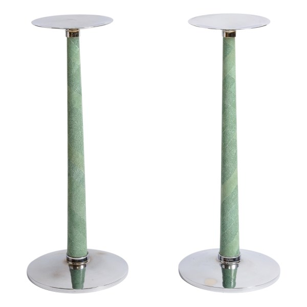 Vintage Designer Shagreen & Chrome Candle Holders, A-Pair