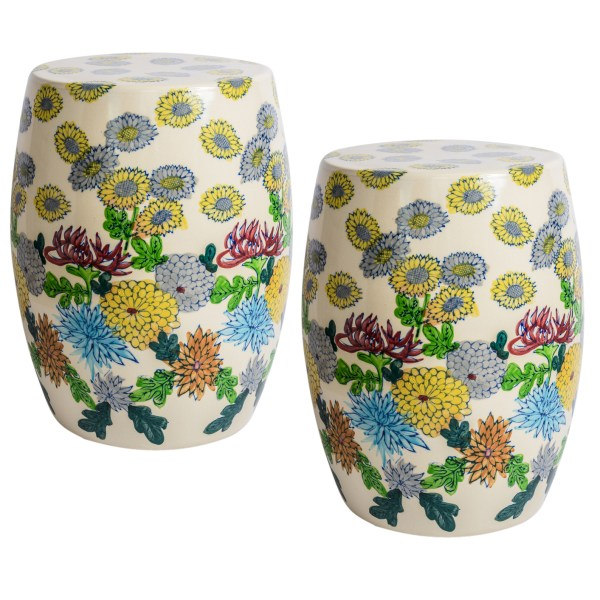 Early 20th C. Japanese Hand Painted Terra Cotta Garden Stools, A-Pair