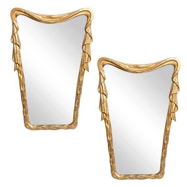 Italian C.1950 Gilt Wood Draped Mirrors, A-Pair