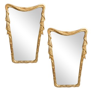Italian C.1950 Gilt Wood Draped Mirrors, A-Pair