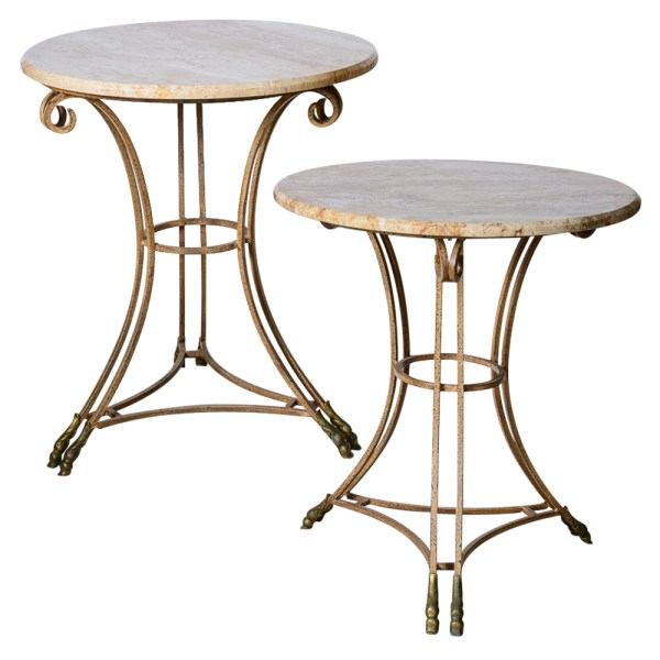 Hollywood Regency Italian Marble Top Iron Tables With Double Bronze Hoof Feet, A - a Pair