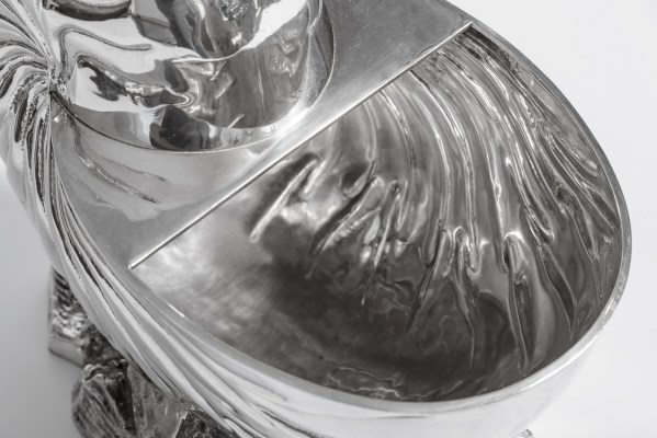 Silver Plated Giant Nautilus Shell Champagne Cooler, Rare