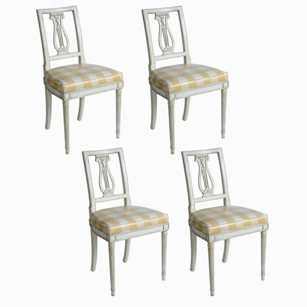 Swedish Painted Lyre Back Upholstered. Chairs, Set of 4