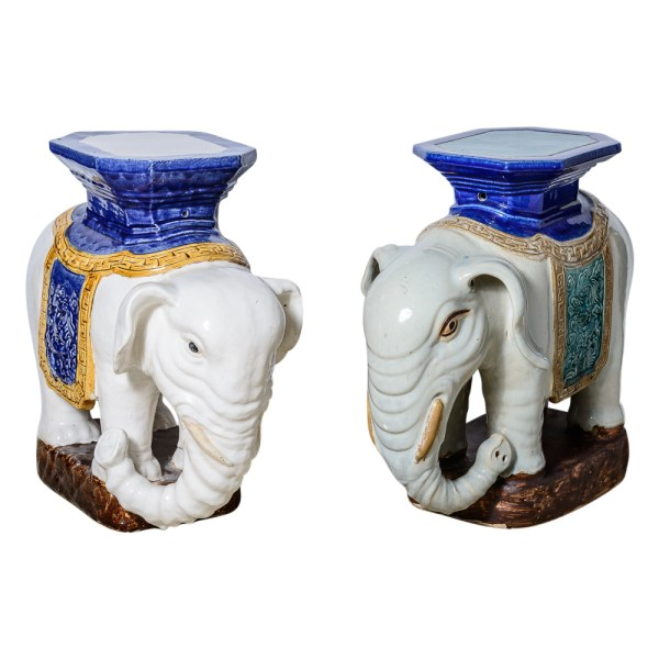 Antique Chinese Glazed Terra Cotta Garden Elephant Stand/Stools, A-Pair/Set