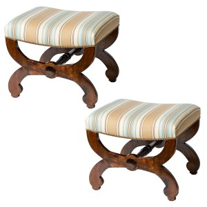English Regency Mahogany Curule Upholstered Large Ottomans, A-Pair