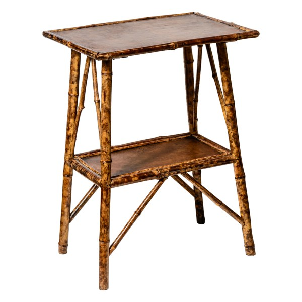 Antique English Burnt Bamboo 2 Tier Table, Embossed Leather Top, C.1920