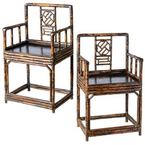 Antique Chinese Qing Dynasty Burnt Bamboo Chairs, C1850, A-Pair