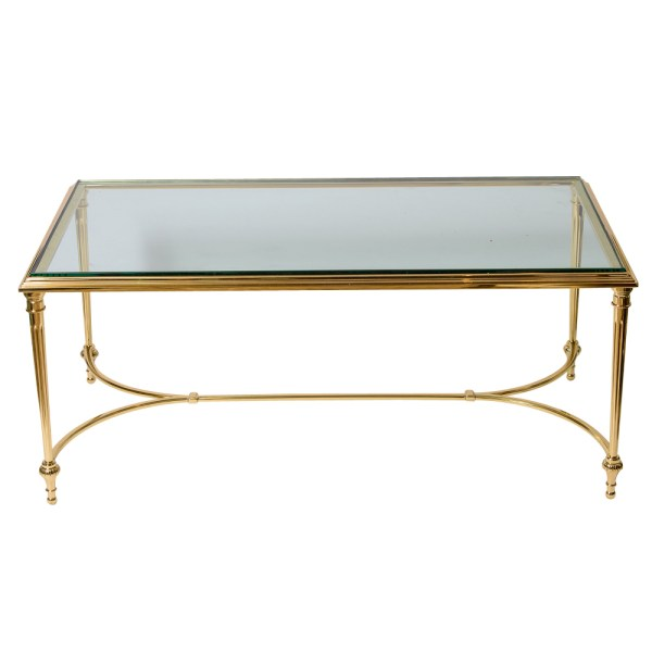 French Maison Charles Solid Bonze Coffee Table, Glass Top, C.1967