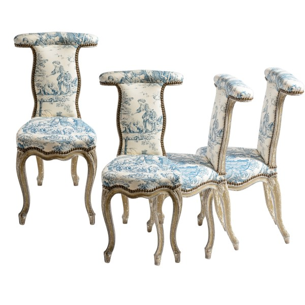 18Th C. Rare French Louis XV Blue & White Toile Voyeuses ChairsC.1770, Set of 4