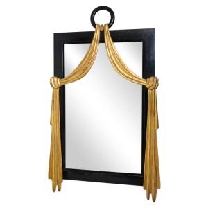 French Art-Deco Style Ebonized Wood With Gilt Wood Swag, Wall Mirror