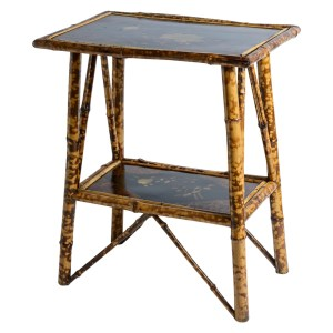 Antique Tortoise Shell Bamboo & Lacquer Side Table, C.1900, English