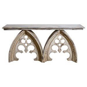 Vintage Wood Gothic Style Cathedral Arched Console Table