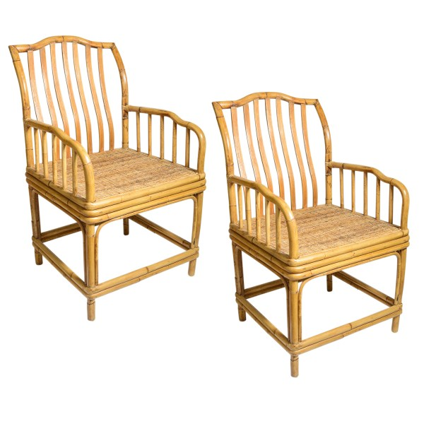 Italian Vintage Bamboo Chairs With Woven Rattan Seat, A-Pair