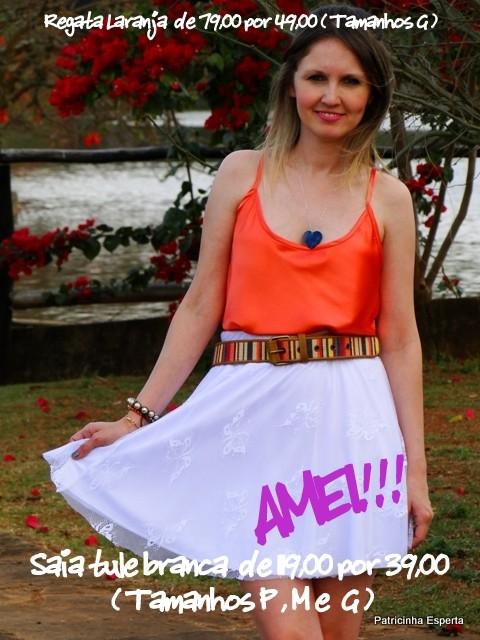 Regata cetim Laranja + Saia tule 071 - LIQUIDA - Regata e Camiseta a partir de R$ 39,00