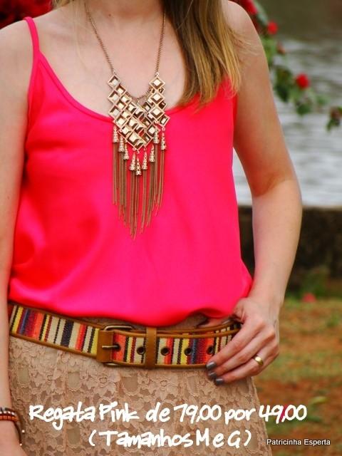 Regata cetim Pink + Saia Sutache 10 - LIQUIDA - Regata e Camiseta a partir de R$ 39,00